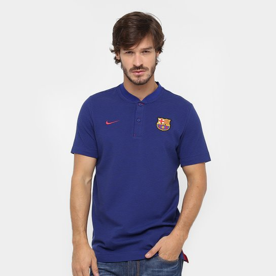 Camiseta Barcelona Nike NSW Modern Masculina - Azul e Vermelho ... bfa1ff3a8ca7c