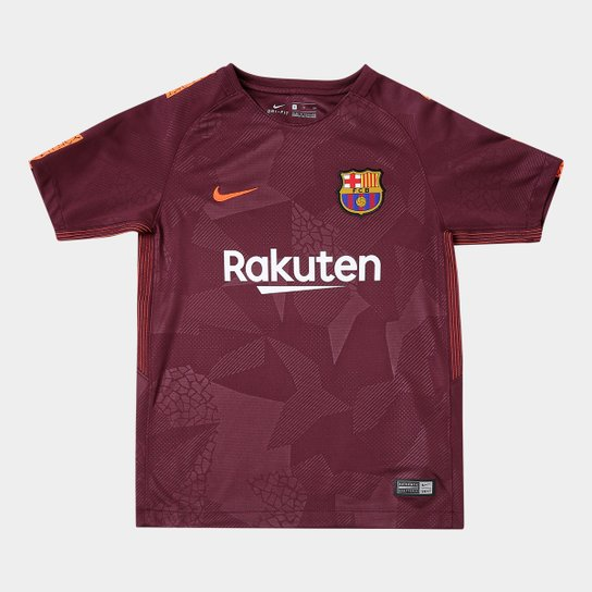 Camisa Barcelona Juvenil Third 17 18 s n° - Torcedor Nike - Bordô ... a8f90ea439317