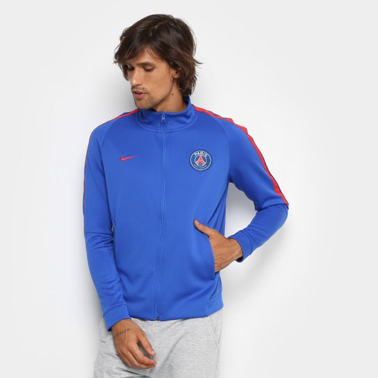 Jaqueta Nike Paris Saint Germain NSW Masculina - Azul e Vermelho ... b25af3c1fac41