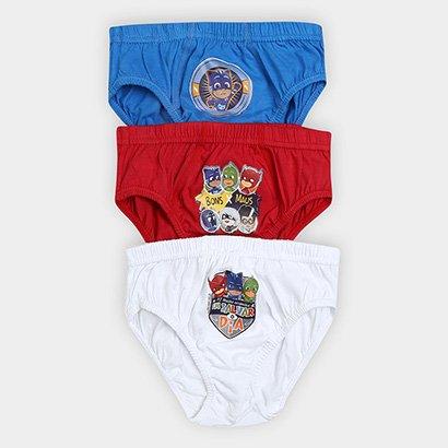 Cueca Infantil Lupo Slip PJ Masks Kit com 3 unidades