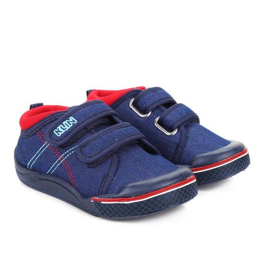 Tênis Jeans Infantil Klin Toy Velcro Menino - Azul e Vermelho ... 87680cac1cbc3