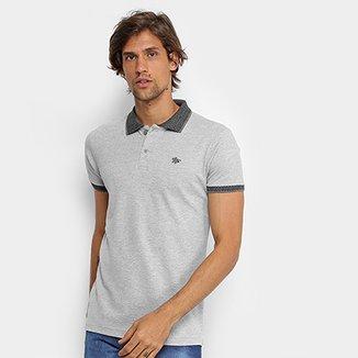 03fab06194c Camisa Polo RG 518 Lisa Gola Quadriculada Logo Metalizada Masculina