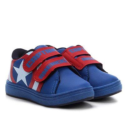 Tênis Infantil Marvel 2 Velcros Capitão América Masculino