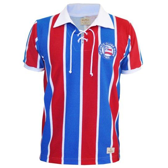Camisa Retrô Mania EC Bahia Cordinha - Azul e Vermelho - Compre ... cc4418d2f28dc
