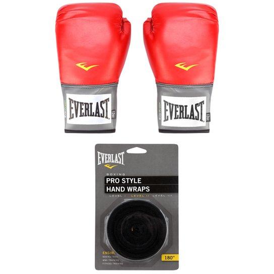 206c27a55 Kit Luva de Boxe Muay Thai Everlast Pro Style - 12 oz + Bandagem Elástica