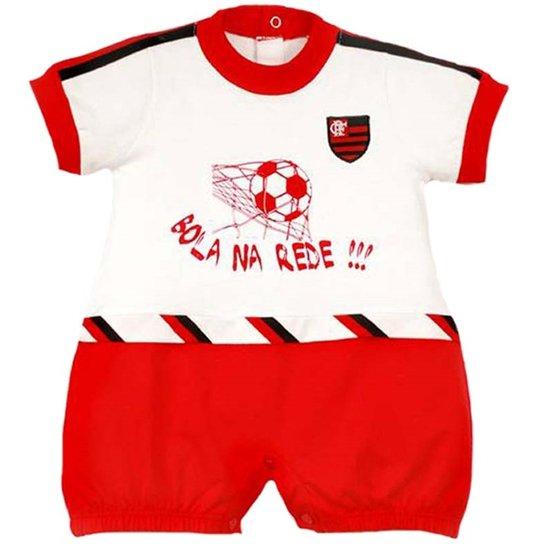 cee390cd5 Macacão Curto Bola Na Rede Meia Malha Unissex Flamengo Reve Dor - G -  Vermelho+