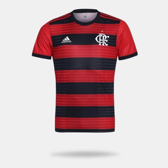 Camisa Flamengo I 2018 s n° Torcedor Adidas Masculina - Vermelho e ... c19f175d22c89