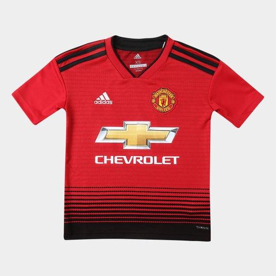 b3231f9ba07d4 Camisa Manchester United Infantil Home 2018 s n° Torcedor Adidas -  Vermelho+Preto