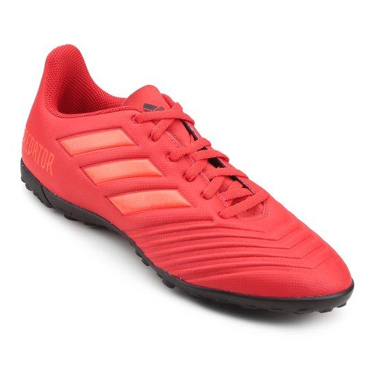 Chuteira Society Adidas Predator 19 4 TF - Vermelho e Preto - Compre ... b69135ea40030