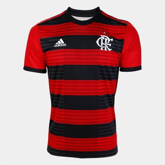 5ebb710c34 Camisa Flamengo I 18/19 s/n° Torcedor Adidas Masculina - Vermelho e ...