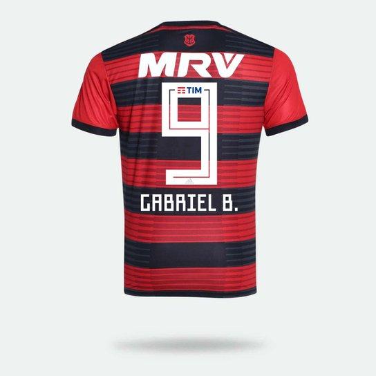Camisa Flamengo I 2018 N° 9 Gabriel B. - Torcedor Adidas Masculina -  Vermelho 2203d512cf987