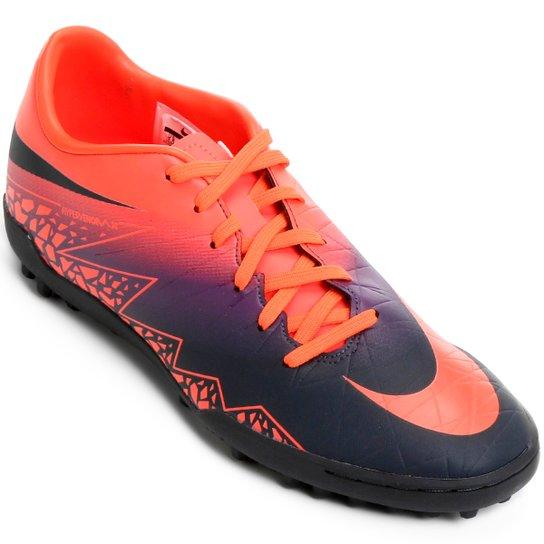 3b4622983d02d Chuteira Society Nike Hypervenom Phelon 2 TF - Roxo+Laranja