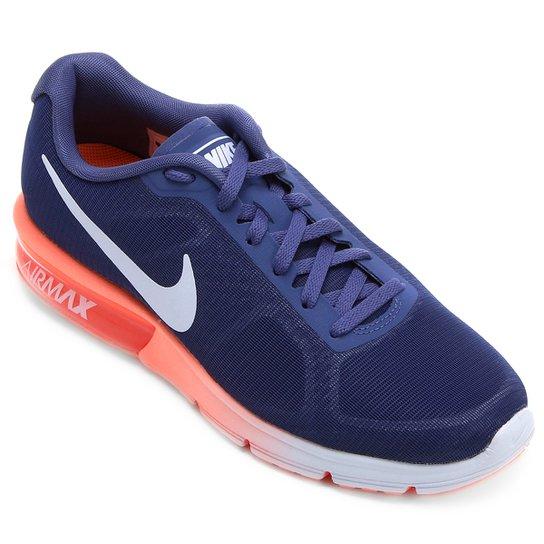 a13e84013d9 Tênis Nike Air Max Sequent Feminino - Marinho+Laranja