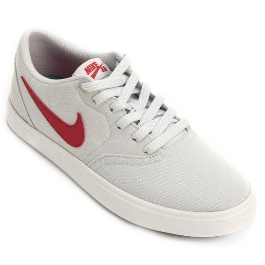 b7bc575ef Tênis Nike Sb Check Solar Cnvs Masculino - Branco e Vermelho ...
