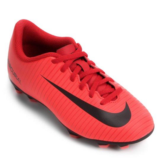 Chuteira Campo Infantil Nike Mercurial Vortex 3 FG - Vermelho+Preto. Loading . e7f52307d60e6