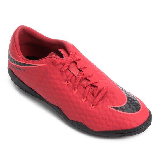 Chuteira Futsal Nike Hypervenom Phelon 3 IC - Vermelho+Preto eecc42bc8a848