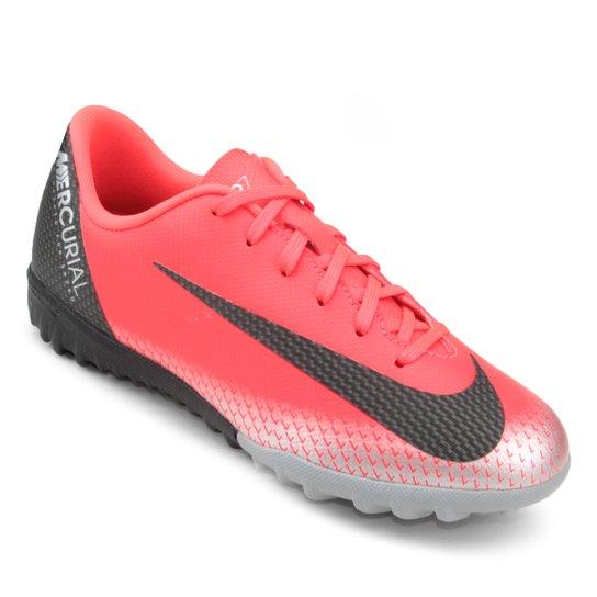 Chuteira Society Infantil Nike Mercurial Vapor 12 Academy GS CR7 TF -  Vermelho+Preto 1288aa54191aa