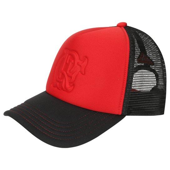 Boné Flamengo Adidas Aba Curva Trucker - Vermelho+Preto 2dd14b7d82ffd