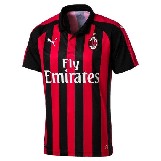 e140688258356 Camisa Milan Home Authentic Sponsor Logo Puma Masculina - Vermelho+Preto