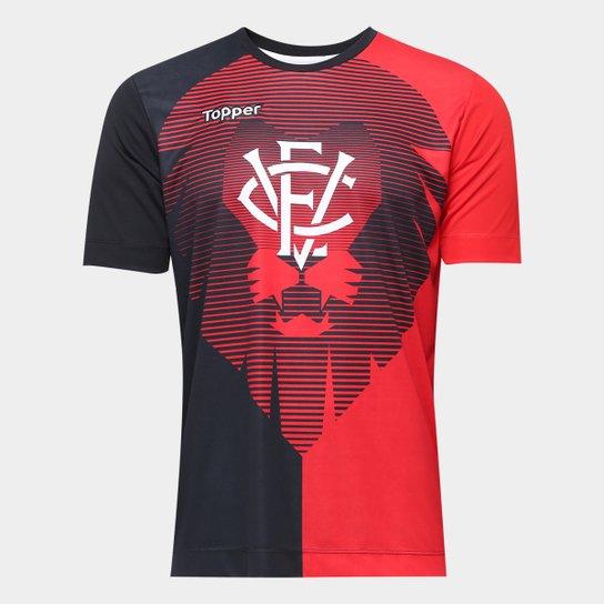 f395ed6e3 Camisa Vitória Aquecimento Torcedor Topper Masculina - Vermelho+Preto