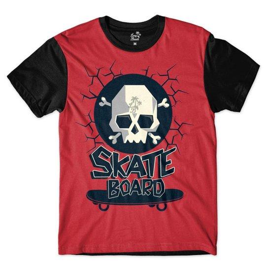 Camiseta Long Beach Caveira Skate Sublimada Masculina - Vermelho e ... e6975beb80c