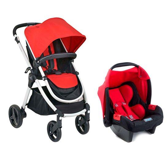 b5cbdabf1 Kit Carrinho de Bebê Burigotto Soul Até 15Kg + Bebê Conforto Touring  Evolution Red - Vermelho