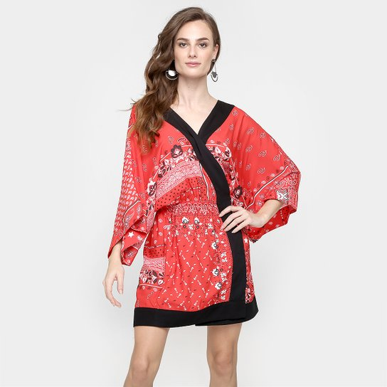 43f70b645 Vestido Ellus Amplo Estampado - Vermelho+Preto