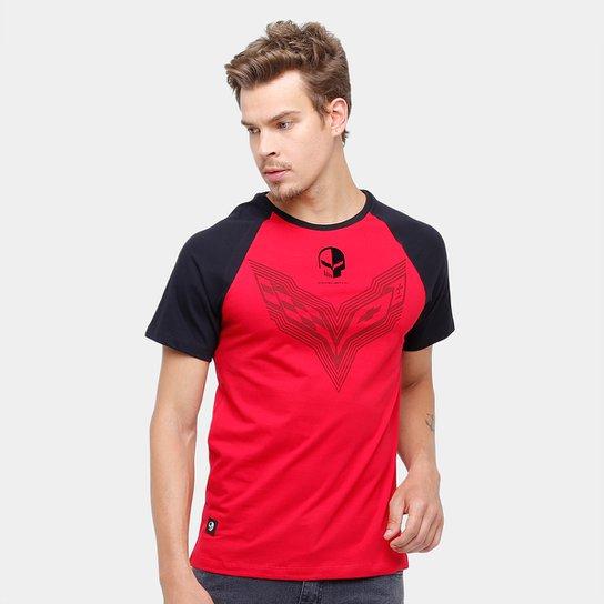 6dee449ff5 Camiseta Corvette Raglan Mixed Flame Masculina - Vermelho e Preto ...