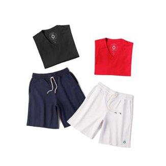 5ff217573 Kit 2 Bermudas Basic + 2 Camisetas Basic Zaiden Masculina