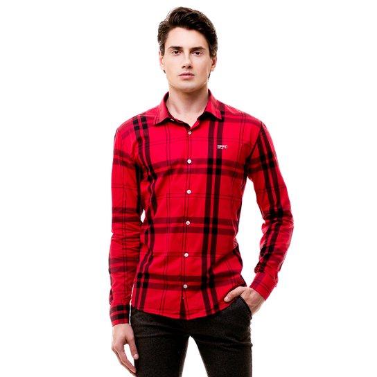 Camisa Social Hat Trick São Paulo - Vermelho e Preto - Compre Agora ... f60fe573b559a