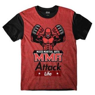 Camiseta Attack Life Lutas e Musculação Lutador MMA Sublimada Masculina 41fd3f17a1e