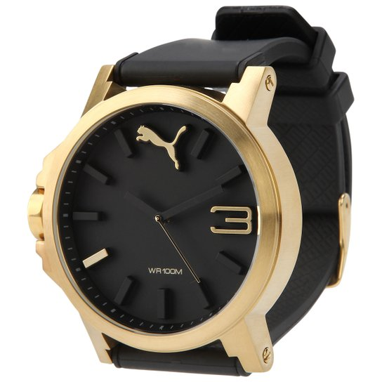 50293205416df Relógio Puma Ultrasize - Preto+Dourado