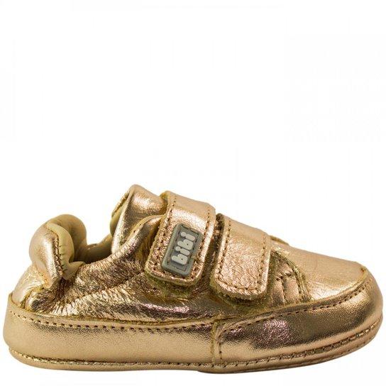 46acd34700 Tênis Bebê Menina Bibi Metalizado Afeto New VII - Dourado