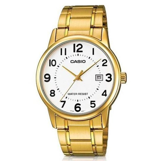 938a24fb419 Relógio Casio Analógico Masculino - MTP-V002G-7BUDF - Dourado ...