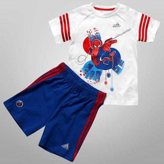fcf367db6d Conjunto Adidas Camiseta e Short Homem-Aranha Infantil - Branco+Azul