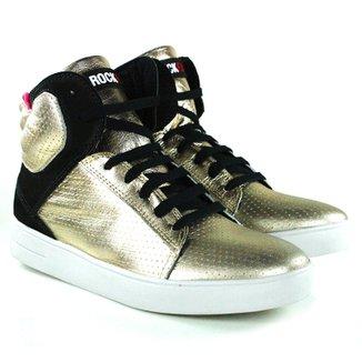 Tenis Sneaker Em Couro Dourado   Preto - Rock Fit 315cd14f8c46d