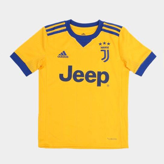 53b0a2e750 Camisa Adidas Juventus Away 17/18 s/nº Infantil Torcedor - Amarelo+Azul