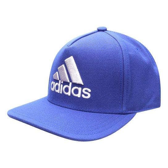 e9abf1a948 Boné Adidas H90 Logo Aba Reta - Azul+Cinza
