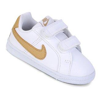 b6878d1fb7c Tênis Infantil Couro Nike Court Royale