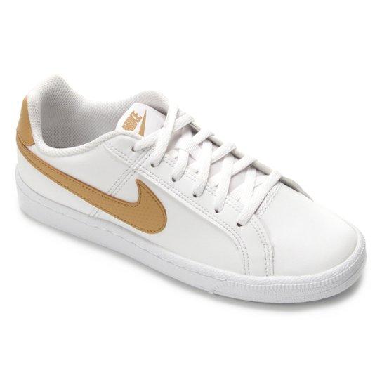 1ae87c23e41 Tênis Infantil Couro Nike Court Royale Masculino - Branco e dourado ...