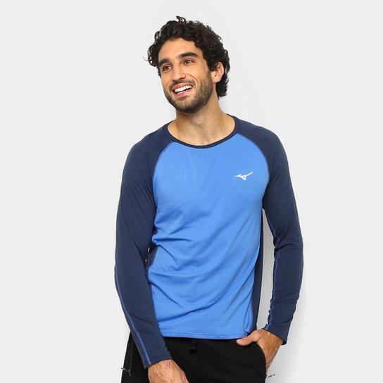 d480f21a4f Camiseta Mizuno Run Pro Com Proteção UV Manga Longa Masculina - Azul+Cinza
