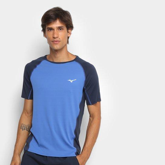 57edd736ad Camiseta Mizuno Run Pro Com Proteção UV Masculina - Azul e Cinza ...
