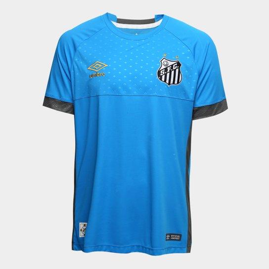 ... Camisa de Goleiro Santos I 2018 s n° Torcedor Umbro Masculina - Azul . 660d60b8e2bc7