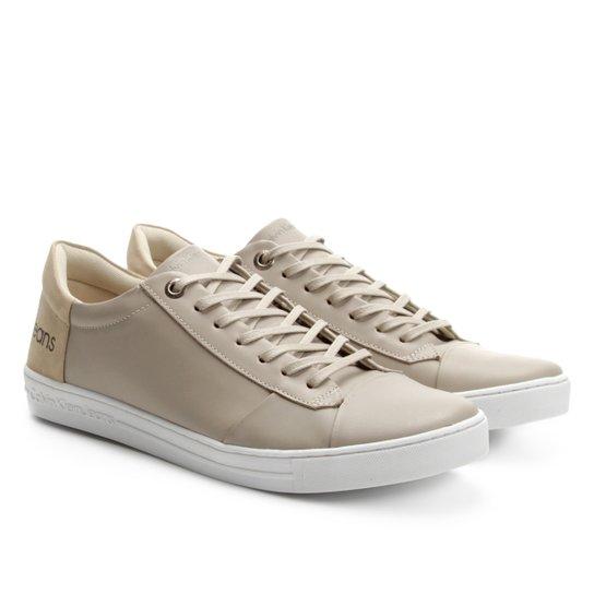 Sapatênis Couro Calvin Klein Masculino - Branco e Bege - Compre ... 62b9f114be