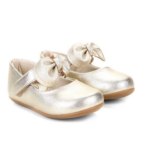 45c241731 Sapatilha Infantil Klin Velcro Laço Princess Feminina - Dourado ...