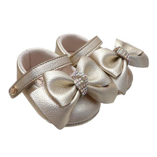d7fd8156 Sapatilha Klin Bebê Laço - Dourado   Netshoes