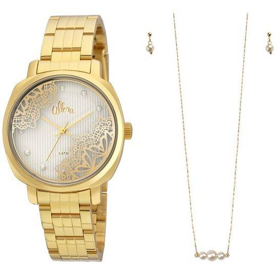 d28403cd0e455 Kit Relógio Allora AL2035FGI K4K - Dourado - Compre Agora