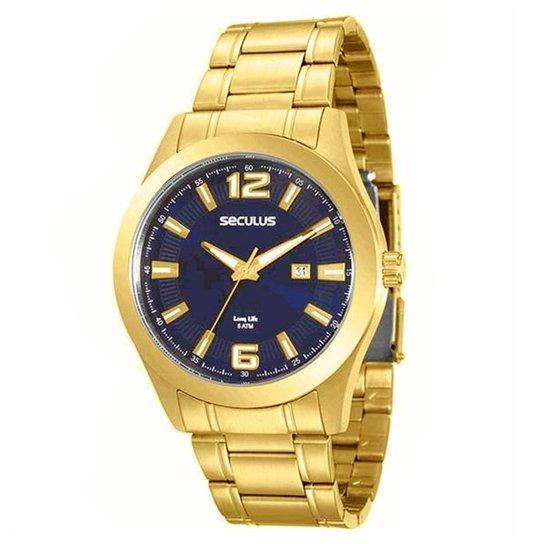 d44b941d12f Relógio Seculus Long Life Masculino - Dourado - Compre Agora