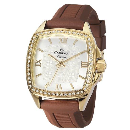 fef571984c8 Relógio Champion CN27367H Cristais Na Caixa - Dourado+Marrom