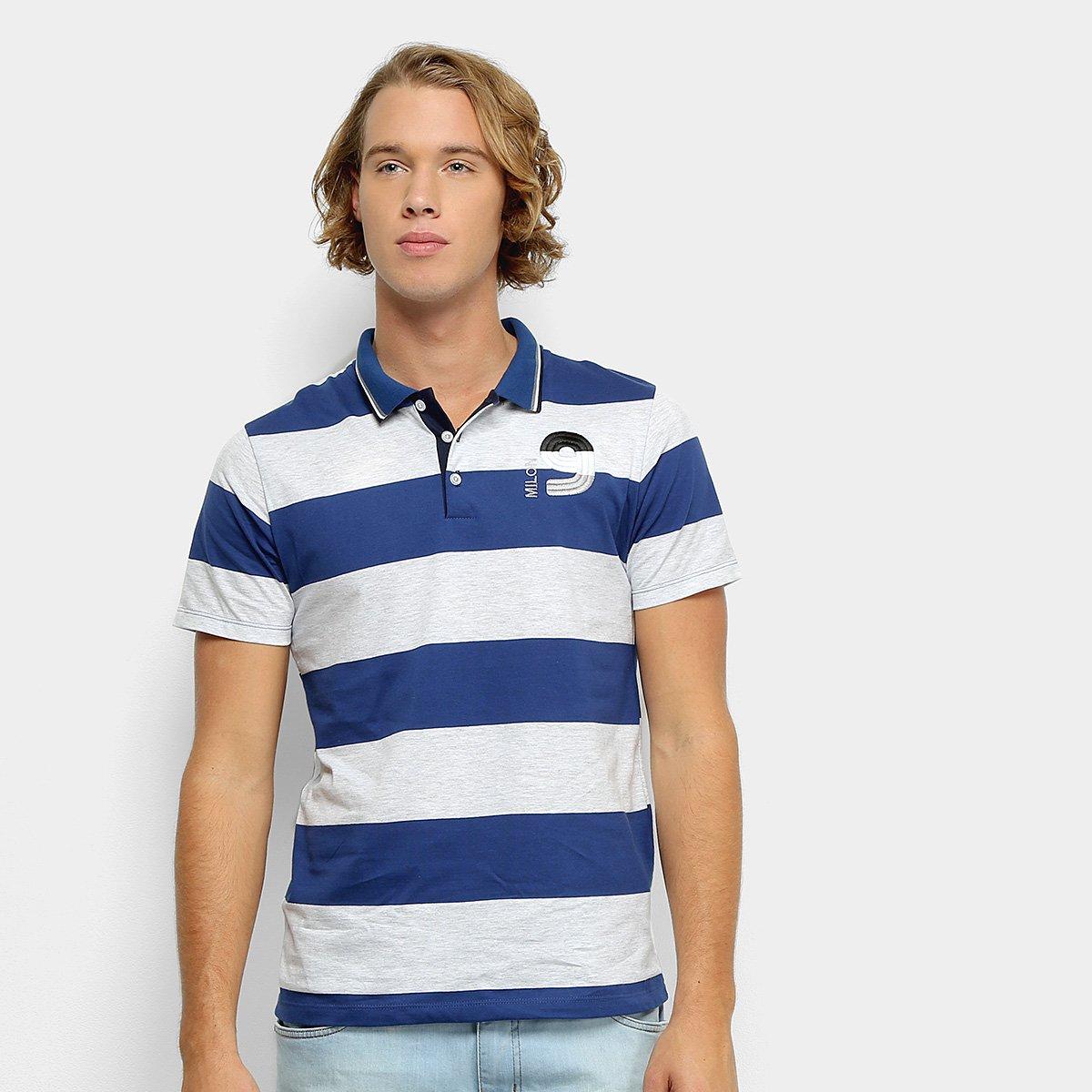 e2b04916ec Camisa Polo Milon Fio Tinto Listrada Masculina